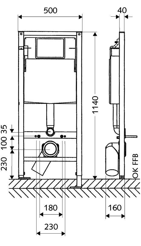 Схема Инсталляция для унитаза